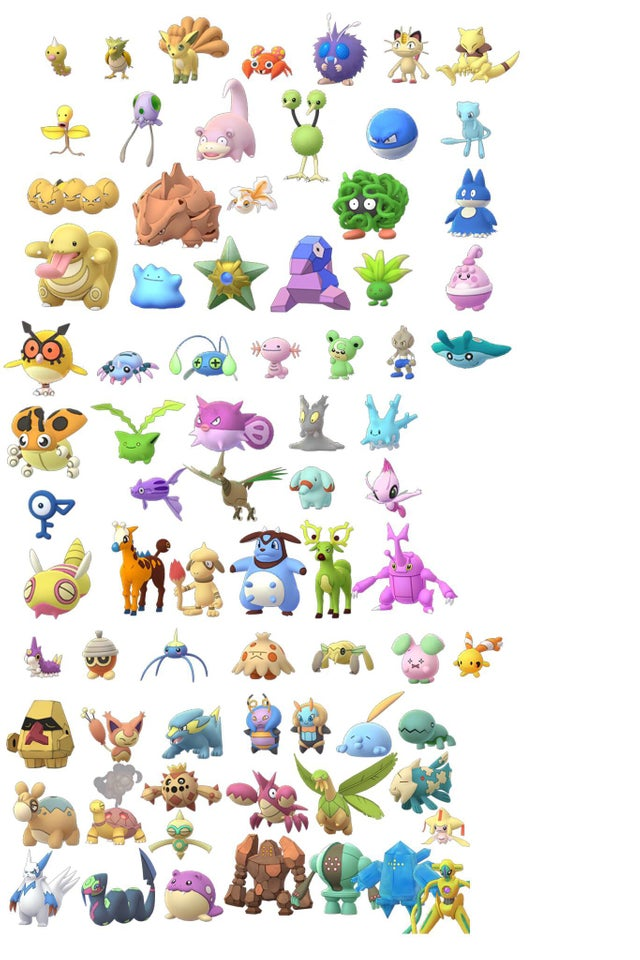 All unreleased Shiny Pokémon from Gens 1-3