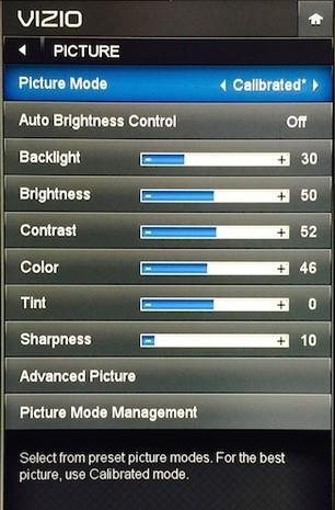 Display menu of Vizio TV