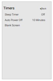 Timers menu displayed on Vizio TV screen