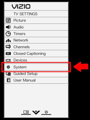 Vizio TV settings displayed on screen