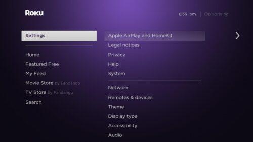 Settings menu on TCL Roku tv