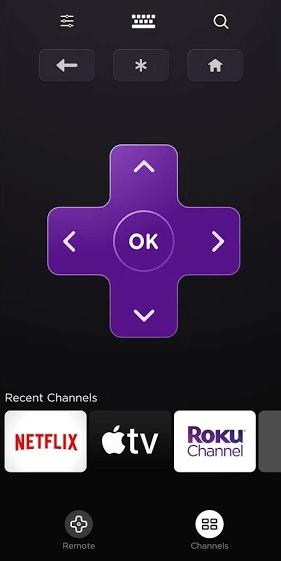 Settings option on the remote app of Hisense TV