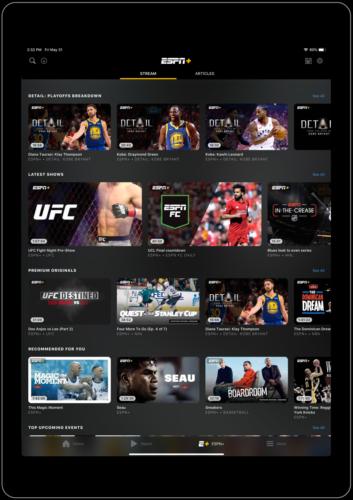 ESPN app home page