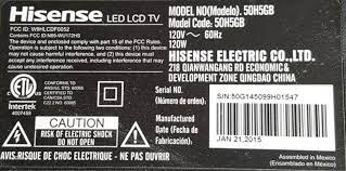 Example of Hisense TV model number
