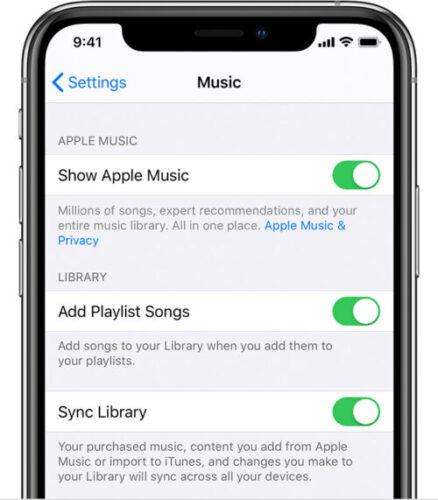 Apple Music settings on iPhone