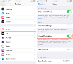 iCloud Music Library option under the Music settings on iPhone