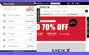 Shein coupons and deals on home page