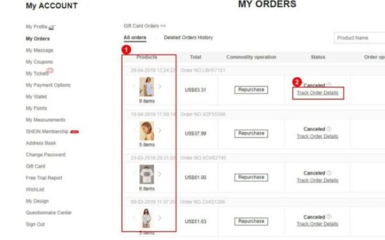Tracking order facility on Shein