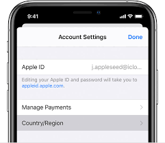 Apple id for changing apple music location