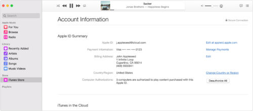 Account information on Apple music app