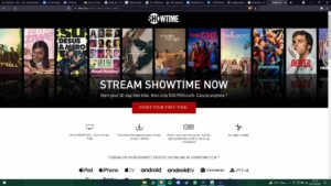 Homepage of Showtime