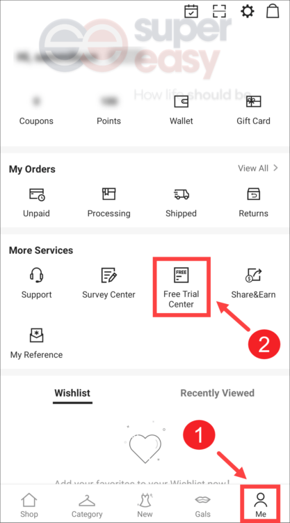 Free trial center on Shein app