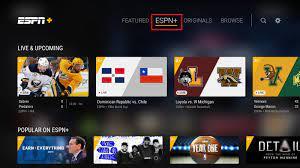 ESPN plus homepage on YouTube TV